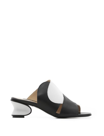 Gelia Womens Slipper Black Leather - White Leather