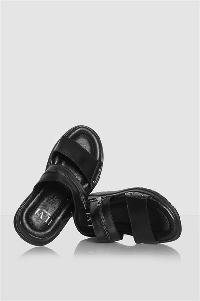 Genus Mens Slipper Black Leather