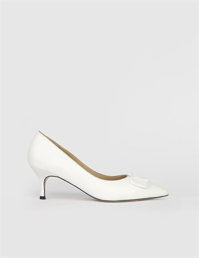Gerilm White Leather Womens Pump