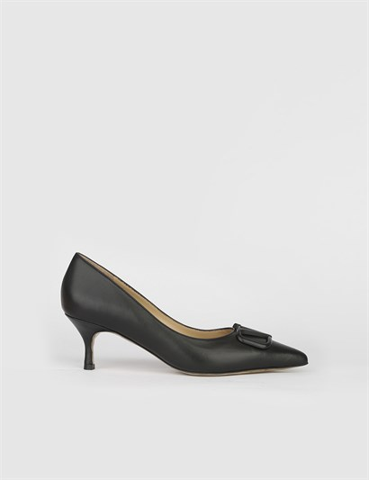 Gerilm Black Leather Womens Pump
