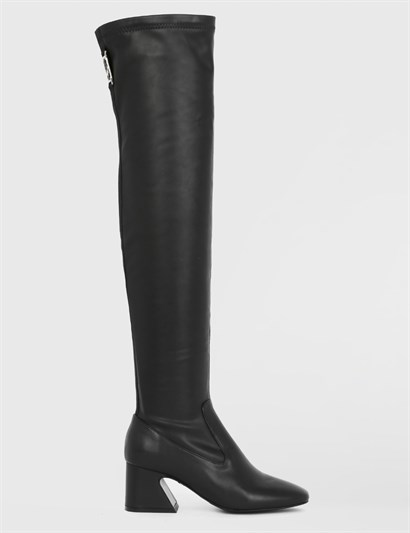 Gıdra Black Leather Stretch Womens High Boot