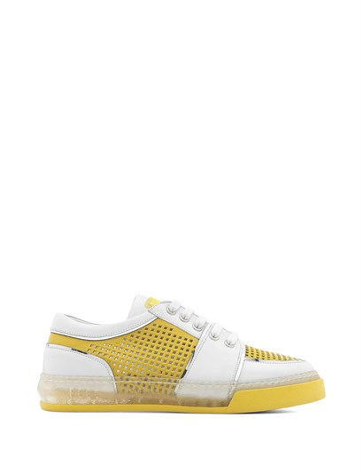 Handsome Womens Sneaker White Leather - Yellow