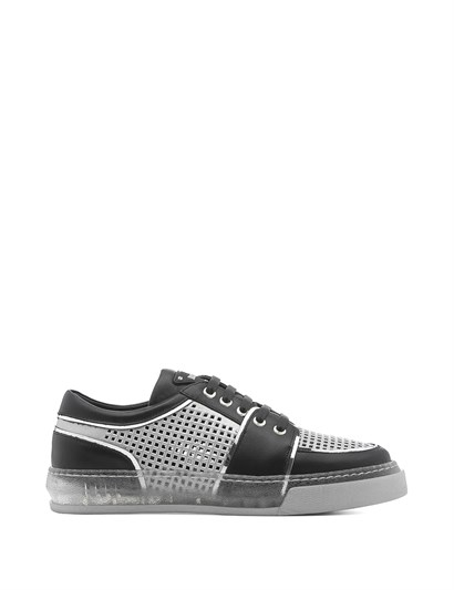 Handsome Womens Sneaker Black Leather - Silver Mirror