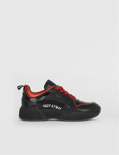 Hava Black Leather Red Womens Sneaker