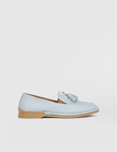 İlna Blue Leather Womens Loafer