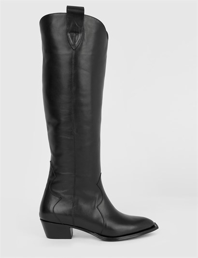 Ivy Black Leather Womens High Boot