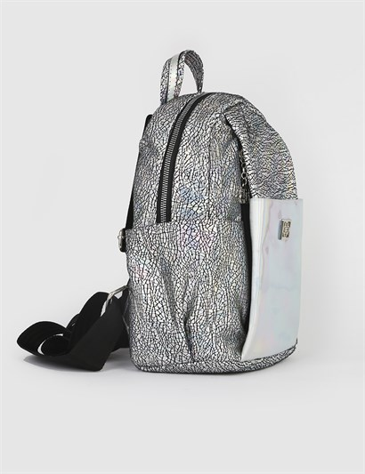 Janet Black Silver Womens Backpack