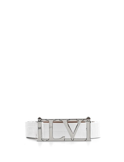 Jenna Womens Belt White Crocodile