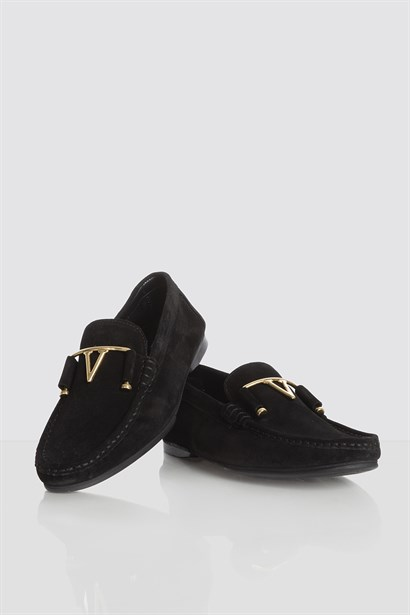 John Mens Moccasin Black Suede