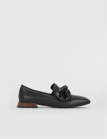 Jora Black Leather Womens Loafer
