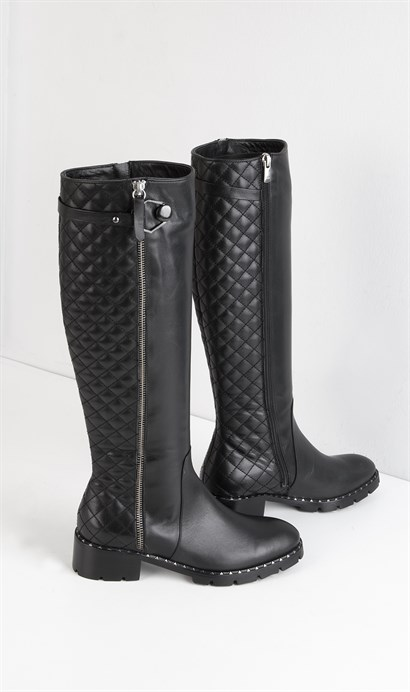 July Womens High Boot Black Leather