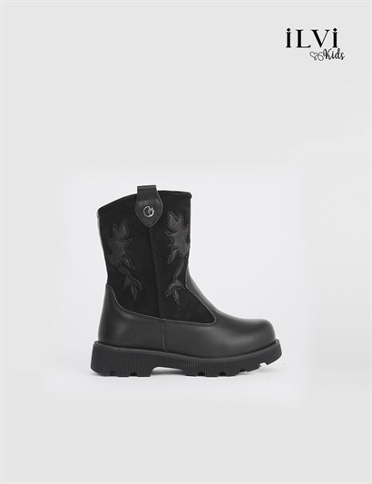 Karden Black Leather Girls Boot