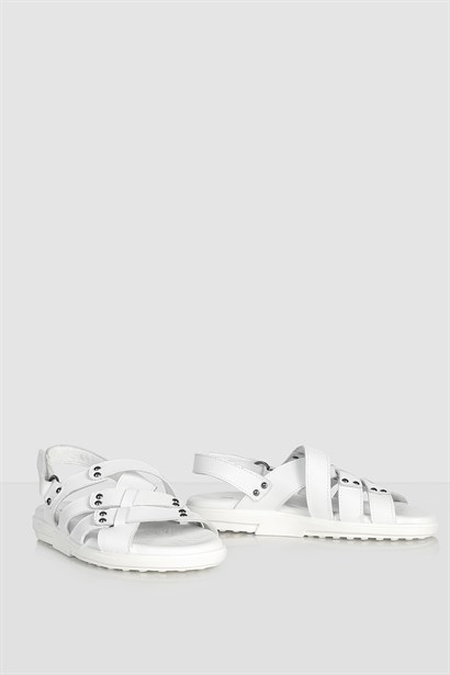 Klasa Mens Sandal White Leather