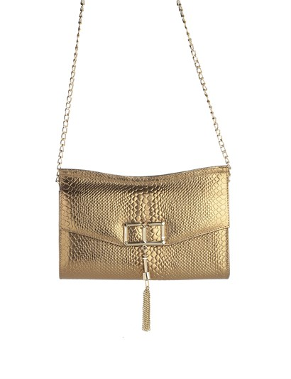 Lauren Womens Shoulder Bag Golden Print Leather