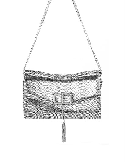 Lauren Womens Shoulder Bag Silver Print Leather