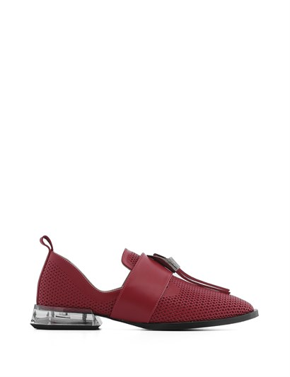 Lello Womens Moccasin Red Leather