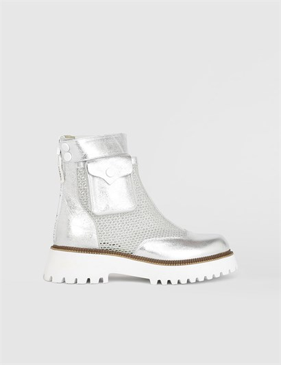 Lenda Silver Leather Womens Boot