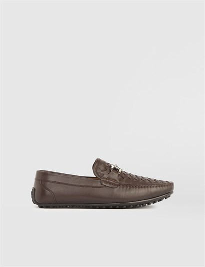 Leroy Brown Woven Leather Mens Moccasin