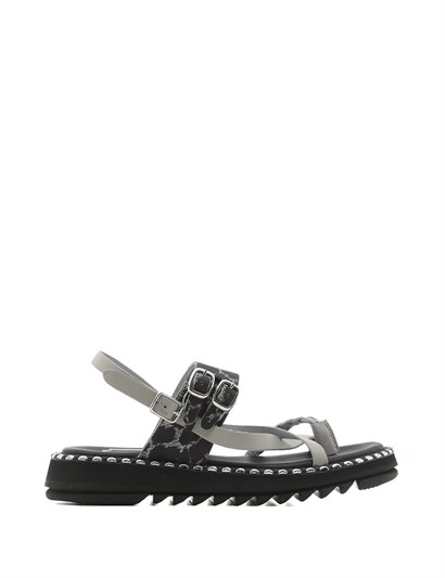 Ligeya Womens Sandal Grey-Black Print