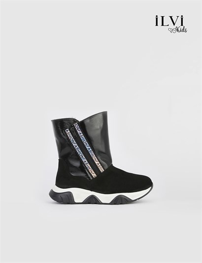 Line Black Leather Girls Boot