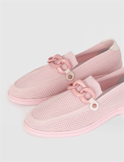 Lokla Powder Pink Leather Womens Loafer