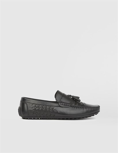 Lucas Black Leather Mens Moccasin