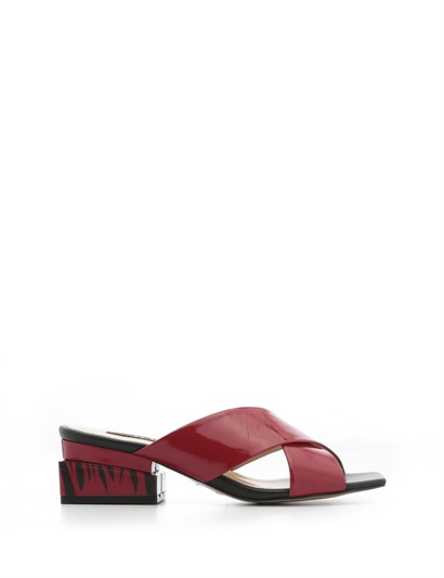 Malone Womens Slipper Red Patent Leather-Black