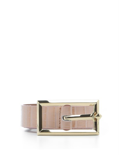 Matilda Womens Belt Powder Pink Crocodile