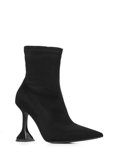 Melina Womens Heeled Boot Black Suede Stretch
