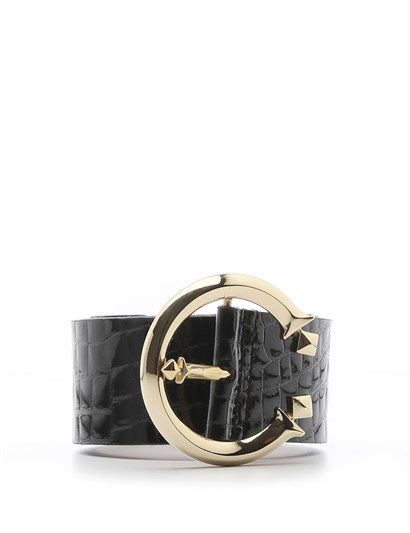 Metilda Womens Belt Black Patent Leather Crocodile