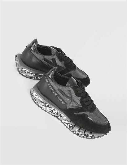 Mira Black Grey Leather Womens Sneaker