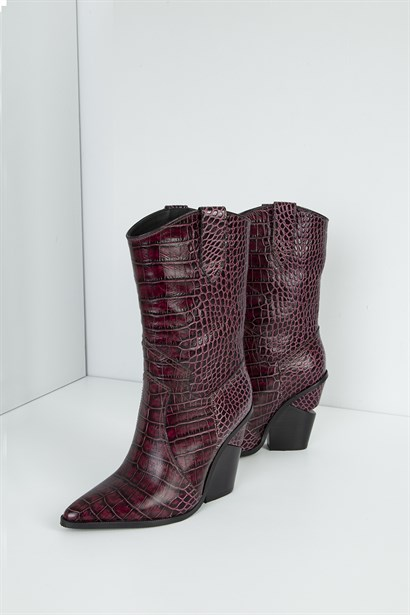 Misha Womens Heeled Boot Bordeaux Crocodile