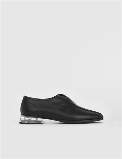 Narpe Black Leather Womens Loafer
