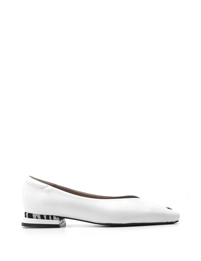 Nelly Womens Ballerina White Leather