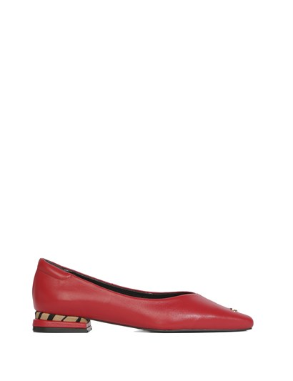 Nelly Womens Ballerina Red Leather