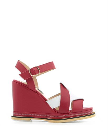 Nil Womens Sandal Red-White Leather