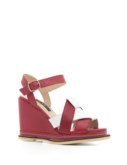 Nil Women's Sandal Red-White Leather