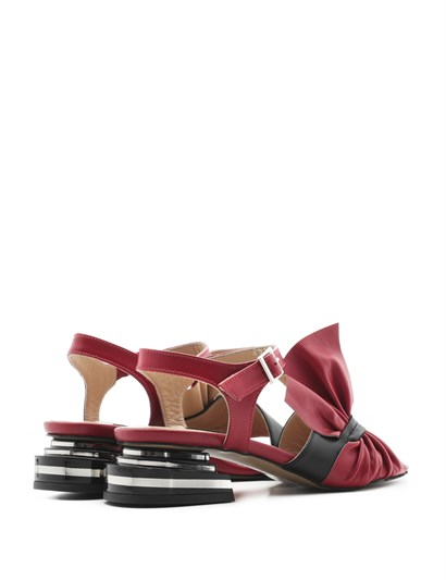 Nora Women's Sandal Red-Black Leather
