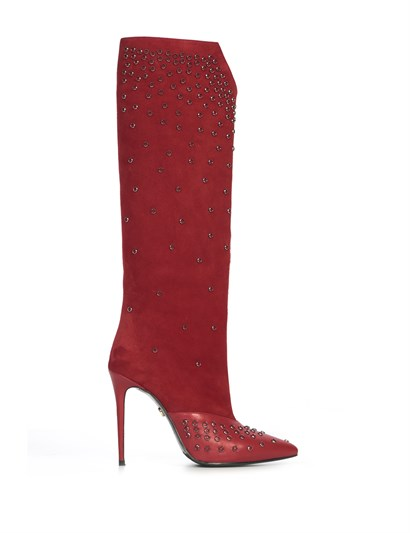 Paulina Womens Heeled High Boot Red Suede