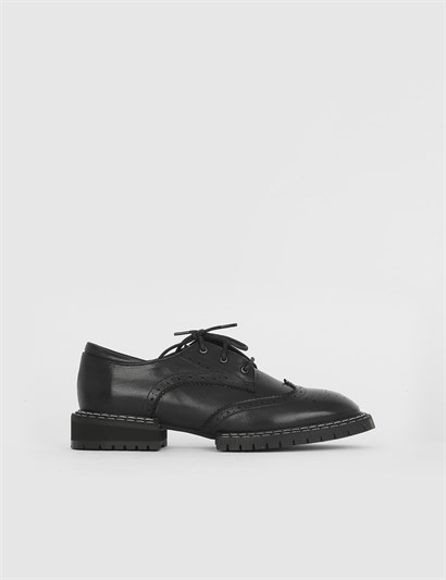 Polet Black Leather Womens Oxford