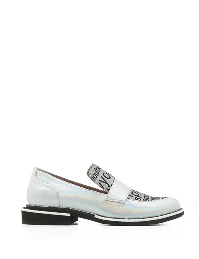 Porto Womens Moccasin Metallic Silver Hologram