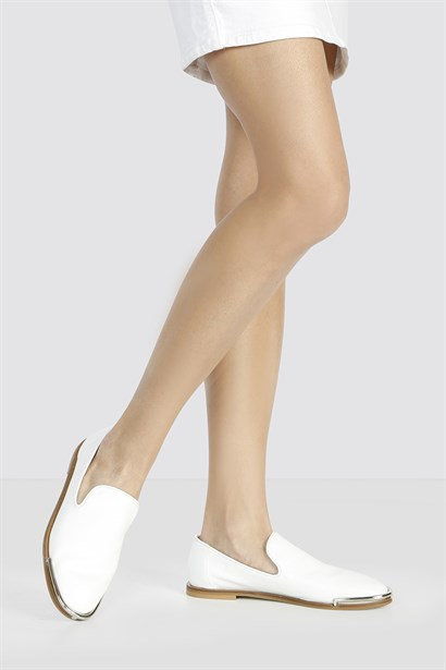 Pure Womens Ballerina White Leather
