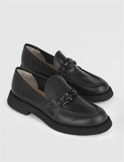 Rapunzel Black Leather Womens Loafer