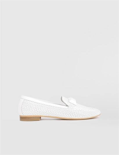 Rasa White Leather Womens Loafer