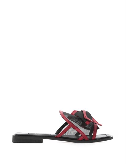 Rest Womens Slipper Red Leather-Black Mesh