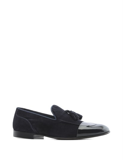 Ricarda Men's Moccasin Navy Blue Wrinkled Patent Leather