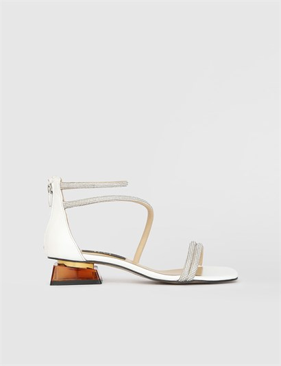 Rola White Leather Womens Heeled Sandal