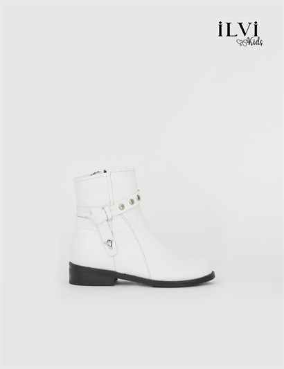 Roly White Leather Girls Boot