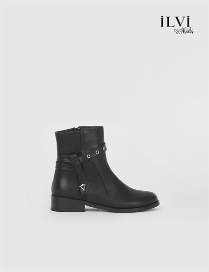 Roly Black Leather Girls Boot