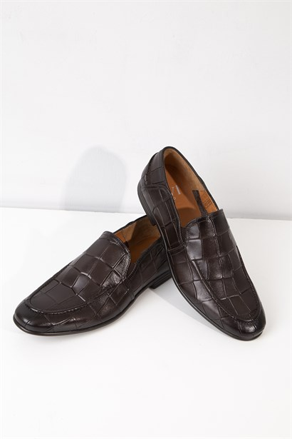 Rudolf Mens Classic Shoe Brown Crocodile
